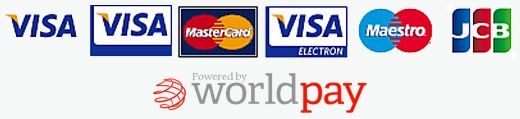 Payments powered by Worldpay. Accepting Visa, Visa Debit, Mastercard, Visa Electron, Maestro, JCB