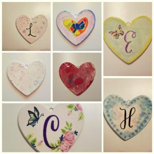 ceramic hearts made by Make! Ceramic Studio