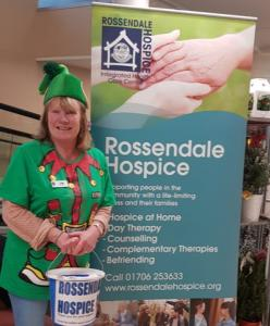 Our happy volunteer dressed as an elf at the Tesco collection day
