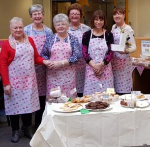 Friends group picture at the cake sale
