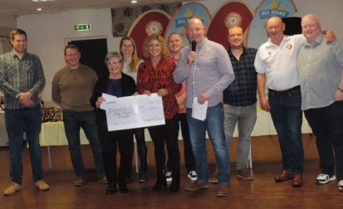 cheque presentation at Haslingden Cricket Club for £1000 donation