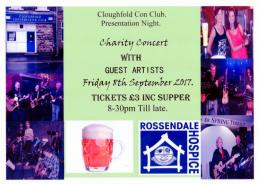 Cloughfold Con Club charity night poster 8th Sep