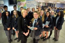 Janine Packman from Trickett's Insurance Brokers with Alder Grange High School