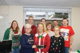 staff at Interfloor wearing Christmas jumpers