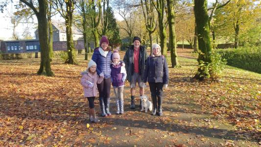 A picture of the Thornton family enjoying the Pumpkin Trail last weekend