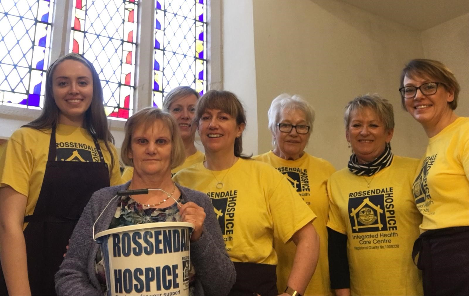 Refectory Cafe volunteers wearing Hospice tshirts