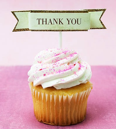 image of a cupcake with a thank you sign